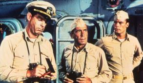 still-of-humphrey-bogart-and-fred-macmurray-in-myteriet-på-caine-(1954)-large-picture