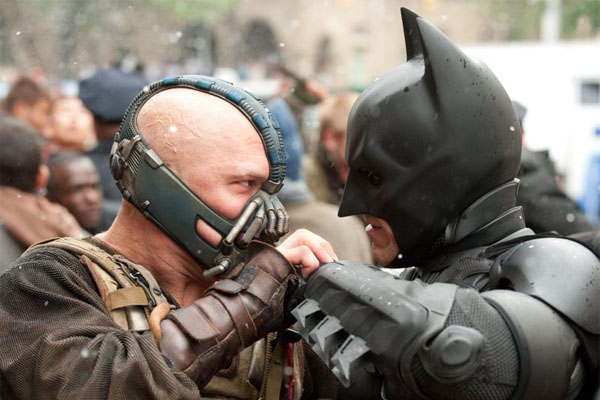 "Tom Hardy and Christian Bale in ""The Dark Knight Rises"""