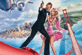 "Roger Moore and Tanya Roberts in ""A View to a Kill"""