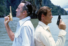 "Christopher Lee and Roger Moore in ""The Man with the Golden Gun"""