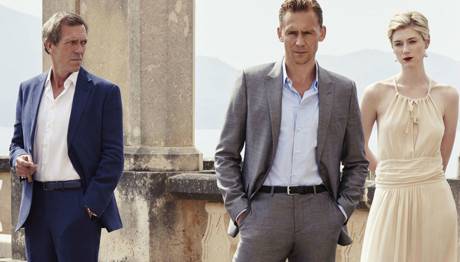 "Hugh Laurie, Tom Hiddleston, and Elizabeth Dibecki in ""The Night Manager"""