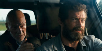 "Patrick Stewart and Hugh Jackman in ""Logan"""