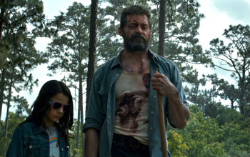"Dafne Keen and Hugh Jackman in ""Logan"""