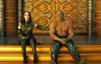"Pom Klementieff and Dave Bautista in ""Guardians of the Galaxy Vol. 2"""